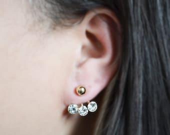 Gold Crystal Ball Ear Jacket Earrings