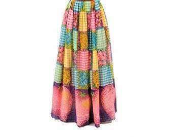 Vintage 1970's Bright Rainbow Sheer Cotton Gauze Novelty Print Patchwork + Fruit Flower High Waist Skirt S