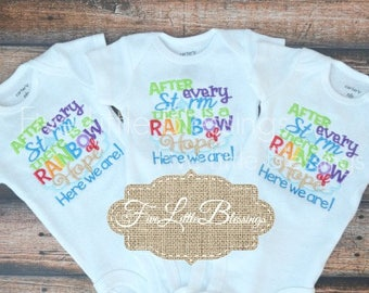 Rainbow Baby - Twins - Triplets - baby shower gift - Rainbow of Hope - After every storm - new dad - new mom - rainbow babies - after loss