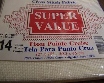 14 Count 12 x 18 in. Antique White (Ivory) Aida Cloth Cross Stitch Fabric NIP