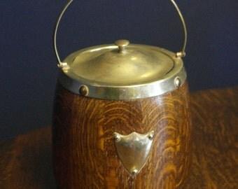 antique oak biscuite barrel