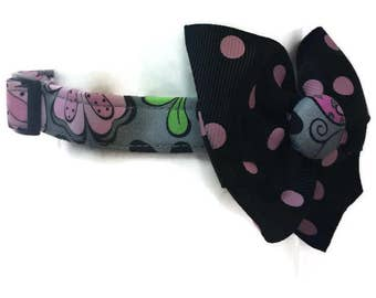 Grey and Pink Floral Dog Collar size Small