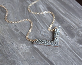 Crushed Crystal Little V Necklace