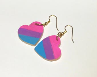 Bisexual Pride Heart Shaped Earrings Bi Jewelry LGBT LGBTQ