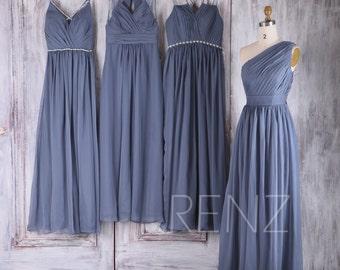 2017 Mix Match Chiffon Bridesmaid Dress, Long Ruched Bodice Wedding Dress, Steel Blue Prom Dress, Evening Gown Full (H291/J048/L280/B083)