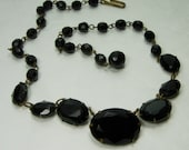 1940s Wired Black Glass Necklace Prong Set Large Stones Faceted Beads French Art Deco