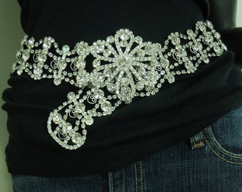 1980s Huge Kenneth Lane KJL Rhinestone Belt Runway Couture Statement Size