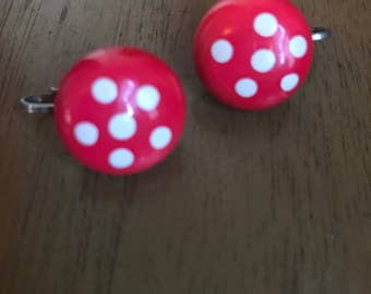 Vintage clip-on polkadot earrings