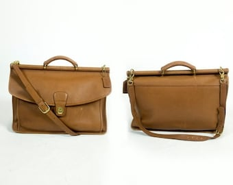 HOLIDAY SALE Vintage Coach Light Brown Leather Beekman Briefcase Turnlock Messenger Computer Bag
