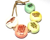 Ceramic Quote Bead Word Beads Set Handmade Affirmation Bird