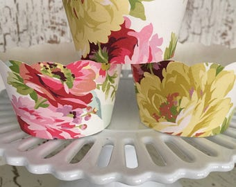 Shabby Chic Floral Cupcake Wrappers