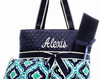 Personalized Geometric Diaper Bag - Navy,Green, & Aqua Diaperbag  3 Piece Set Baby Boy or Girl