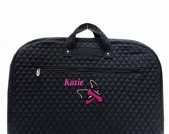Personalized Black Garment Bag with Ballet Shoe Design