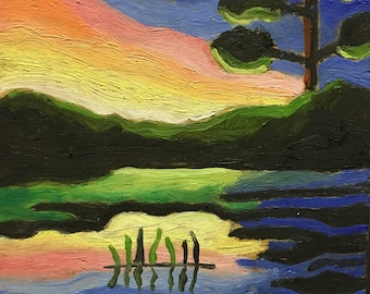 "Original Oil Landscape Painting By Michigan Artist 5x5 ""Sunset Swamp"""