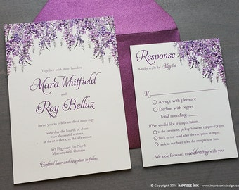 Lavender Wisteria Wedding Invitation Sample | Flat or Pocket Fold Style