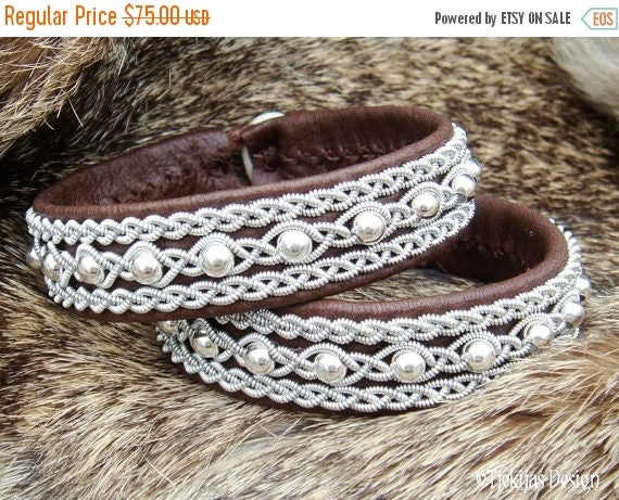 Antique Brown Leather Lapland Bracelet YDUN Swedish Sami Jewelry with Pewter and Sterling Silver Beads on Silksoft Reindeer Leather Handmade