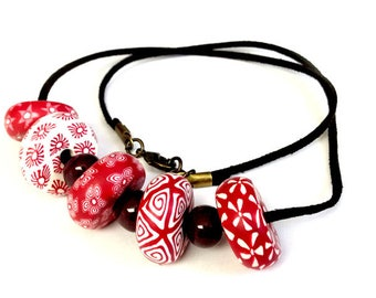 Red and White Polymer Clay/Brown Ceramic Bead Necklace Dark Brown Faux Suede Jewelry Chunky Necklace