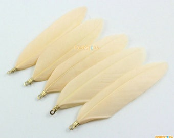 20 Pieces Peach Feather Pendant Feather Charm 7cm (YM368)