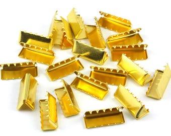 300 Pieces 20*8mm Gold Flat Ribbon Clamp End Crimp [13/16 inch]  (J-EC20)