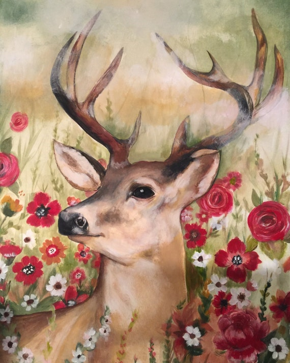 deer fawn with roses