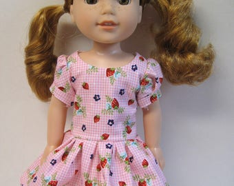 Market Strawberries, Short Sleeved Dress for your 14.5 Inch Doll