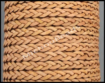 1 Yard 5mm Flat BRAIDED Leather Cord - Distressed NATURAL 3 Feet Braided Indian Genuine Lead Free USA Wholesale Boho Leather Cording