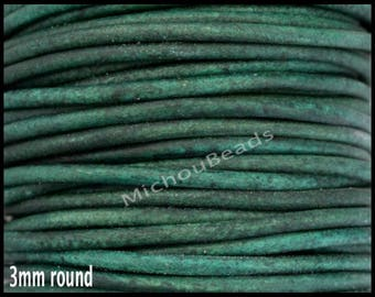 1 Yard 3mm Round LEATHER Cord - DISTRESSED GREEN 3 Feet Genuine Natural Indian Leather Cording - Wholesale Boho Leather Cord By the Yard