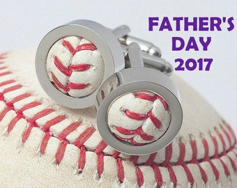 Game Used Baseball Cufflinks - FATHER'S DAY The Perfect Gift for Dad