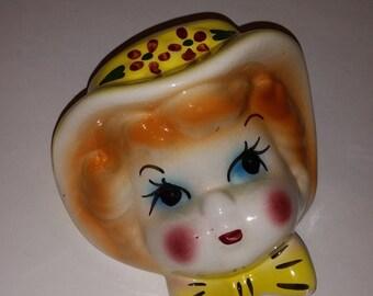 Vintage wall pocket headvase girl yellow hat bow wallpocket 1940 50's head vase