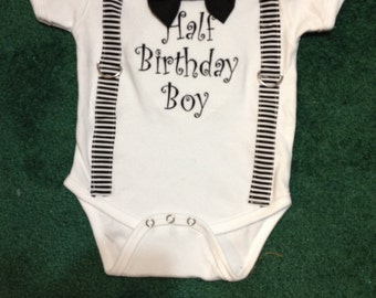 Half Birthday Boy Onsie/Bow Tie