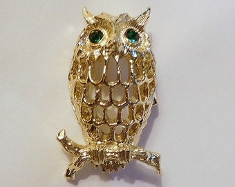 Vintage GERRY'S OWL Pin Brooch - Gold Tone - Green Rhinestone Eyes - Open Work - Signed Marked Jewelry