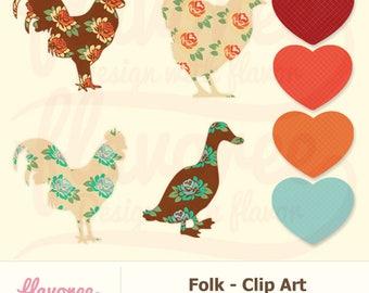 Digital Scrapbook Clip Art - FOLK ART PACK- Scrapbooking Embellishments - Instant Download