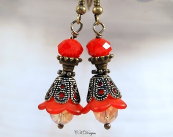 Victorian Style Lucite Earrings, Red Dangle Pierced or Clip-on Earrings, Boho Earrings, Victorian Earrings, OOAK Handmade Earrings.