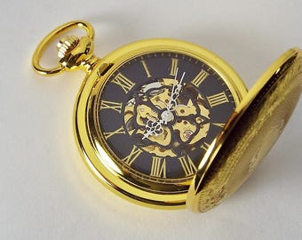 Pocket Watch Custom Engraved Gold Tone Mechanical Wind Up Pocket Watch with Front Shield and Skeleton Back - Hand Engraved