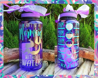 "Mermaid Water/Motivational Water Bottle/34oz./Water Tracker/Water Reminder/""Can't be a""/Wide Mouth Water Bottle with Lid/Lots of Colors/Gift"