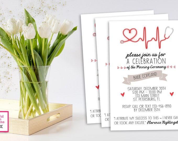 PINNING CEREMONY INVITATION Modern Pinning Ceremony Invitation, Pinning Ceremony, Nurse Pinning Ceremony, Nurse Pinning, Nursing Pinning