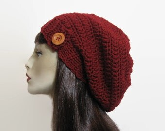 Maroon Slouchy Hat Red Crochet Beanie  Hat with Button  Maroon Beanie Dark Red Tam Adult slouchy Beanie Dark Red Slouchy Hat Knitted beanie