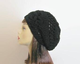 Black Crochet Hat with Flower Black crochet cap Black Slouch Beanie with Flower Black knit Slouch Hat  Black Slouch Tam Beret with Flower