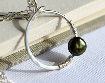 Pearl Circle Necklace, Sterling Silver Circle Necklace, Freshwater Pearl Necklace, Wire Wrapped Silver Circle, Green Pearl Necklace