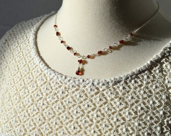 Garnet Necklace Silver, Red Gemstone Necklace, Sterling Wire Wrapped Necklace, Beaded Chain Necklace, Y Necklace, January Birthstone Jewelry