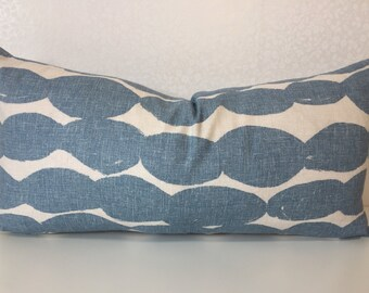 SCANDI inspired design in denim BLUE and STONE pebble fabric from John Lewis accent rectangle / lumber cushion cover by MoGirl Designs.