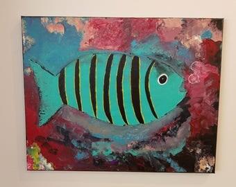 Original Fish Painting on Canvas, beachhouse decor wall art ocean