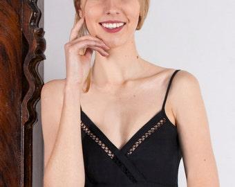 Linen Short Night Gown/Linen Underwear/ Slip Laced In Black Linen/Linen Petticoat