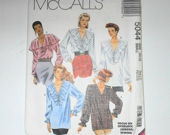 Vintage McCalls 1990 Misses Poet's Oversized Blouse In Two Lengths - Focus On Overlock Sewing - UNCUT - Size 10 12 Pattern Number 5044