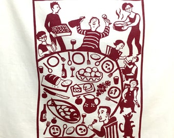 Flour Sack Dish Towel - Dinner, Wine Red or Desert Coral
