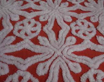 """Hofmann RED with WHITE Circles and SNOWFLAKES Vintage Chenille Bedspread Fabric - Hofmann Red and White Chenille Fabric - 18"""" X 34"""" - #1"""