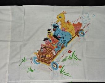 Vintage Sesame Street Pillowcases Set 2 Soapbox Derby Car Big Bird Bert Ernie Cookie Monster Grover