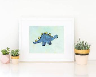 stegosaurus   dino print   cute dino   panda   artwork   animal pun   kids   home decor   nursery decor   office artwork