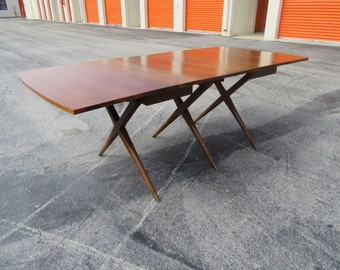 on sale X RATED / Stunning Mid Century Triple X Base Walnut Dining Table / Gate fold / Mid Century Modern Decor