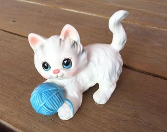 Cat Figurine - Cat with Ball of String - Kitten Figurine - Long Haired Cat Bone China Figuring Cat White Cat With Yarn Porcelain Cat Art
